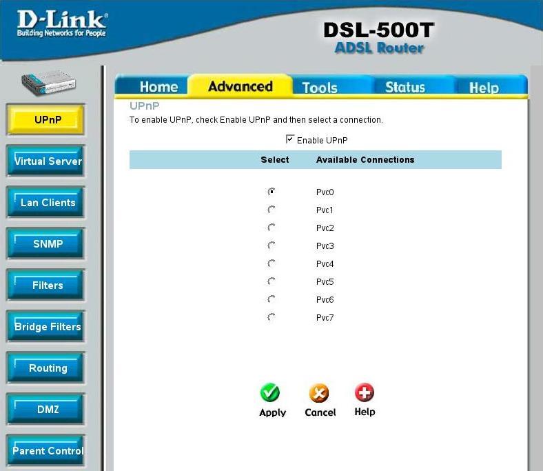 Включаем режим UPnP в D-Link DSL 500T