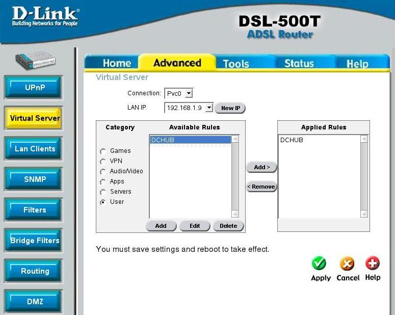 Настраиваем port forwarding в модеме D-Link DSL-500T